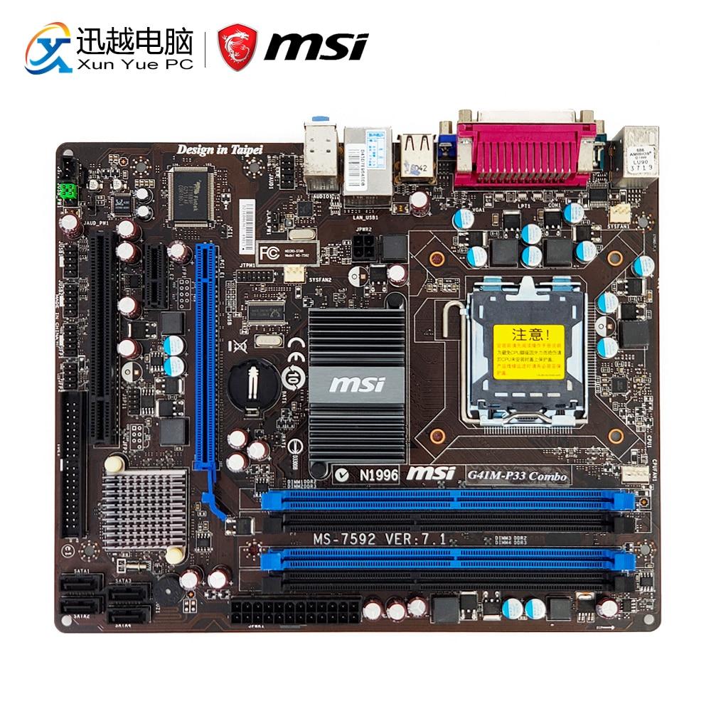 MSI G41M-P33 Combo De Bureau Carte Mère G41 Socket LGA 775 DDR3 8g SATA2 USB2.0 COM Port et Parallèle Port Micro -ATX