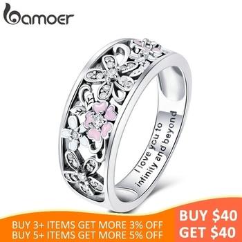 9084a3e858ae BAMOER de Plata de Ley 925 de moda Daisy flor infinito amor pavimenta  anillos de dedo para las mujeres boda joyería de compromiso SCR390