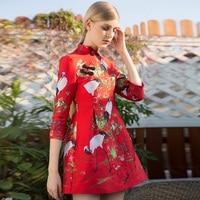 2017 Yeni Sonbahar Zarif Baskı Cheongsam Elbise Yüksek Kaliteli Avrupa Slim Mandarin Yaka Çin Tarzı Sevimli Elbise