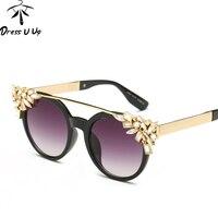 DRESSUUP 2016 Luxury Diamond Retro Round Sunglasses Women Brand Designer UV400 Sun Glasses Fashion Gafas De
