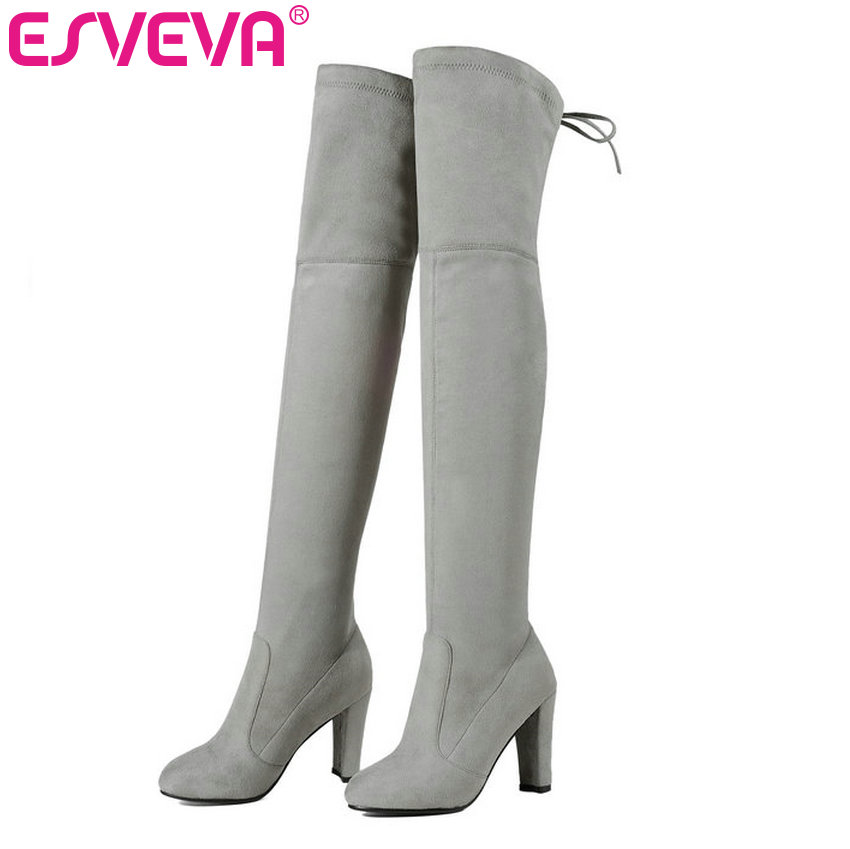 ESVEVA 2017 Warm Women Winter Shoe Sexy Fashion Autumn Boots Over The Knee Boots Lace Up Square High Heel Women Boots Size 34-43 esveva 2017 western style flock women boots over the knee boots winter square high heel ladies lace up fashion boots size 34 43
