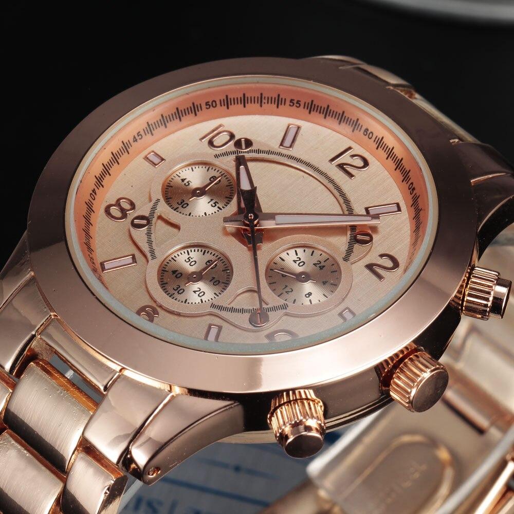 d0ae14506 جديد أزياء الرجال اللباس الساعات ترف الأعلى الكوارتز مطلي الذهب حالة متعددة  ديكو Subdials براون ساعة اليد الصلب الفرقة الذكور اللباس هدية ساعة