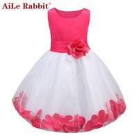AiLe Rabbit Kids Infant Girl Flower Petals Dress Children Bridesmaid Toddler Elegant Dress Pageant Vestido Infantil