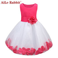 AiLe Rabbit Kids Infant Girl Flower Petals Dress Children Bridesmaid Toddler Elegant Dress Pageant Vestido Infantil