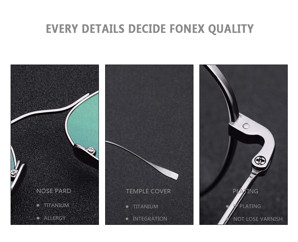 FONEX 100% Real Pure Titanium Glasses Frame Men IP Plate New Women Aviation  Optical Prescription Eyeglasses High Quality Eyewear 7e6df1beaa9b4