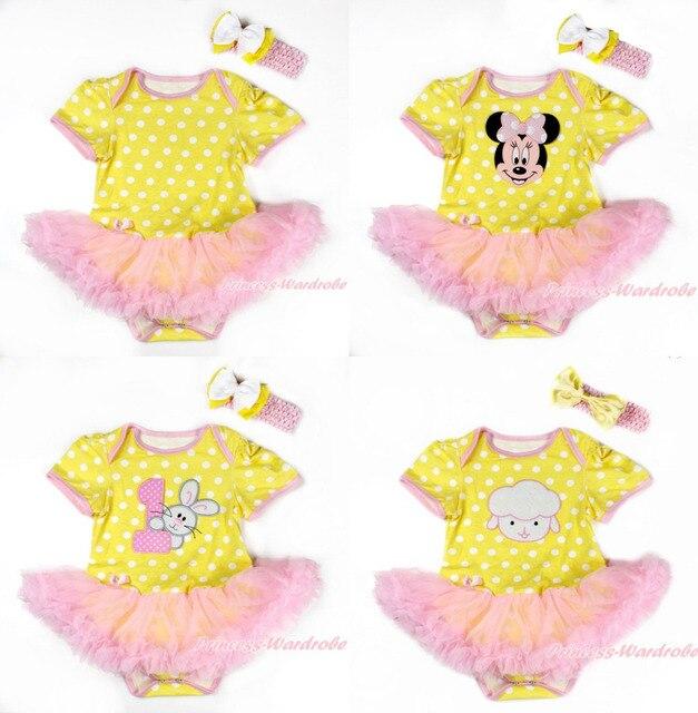 Easter Yellow White Polka Dots Bodysuit Jumpsuit Romper Light Pink Wave Patterns Pettiskirt Baby Dress Headband NB-18M MAJS0104