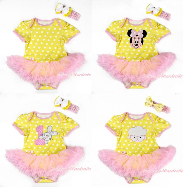 Páscoa Amarelo Branco Polka Dots Bodysuit Macacão Pettiskirt Romper Padrões de Ondas de Luz Rosa Do Vestido Do Bebê Headband NB-18M MAJS0104