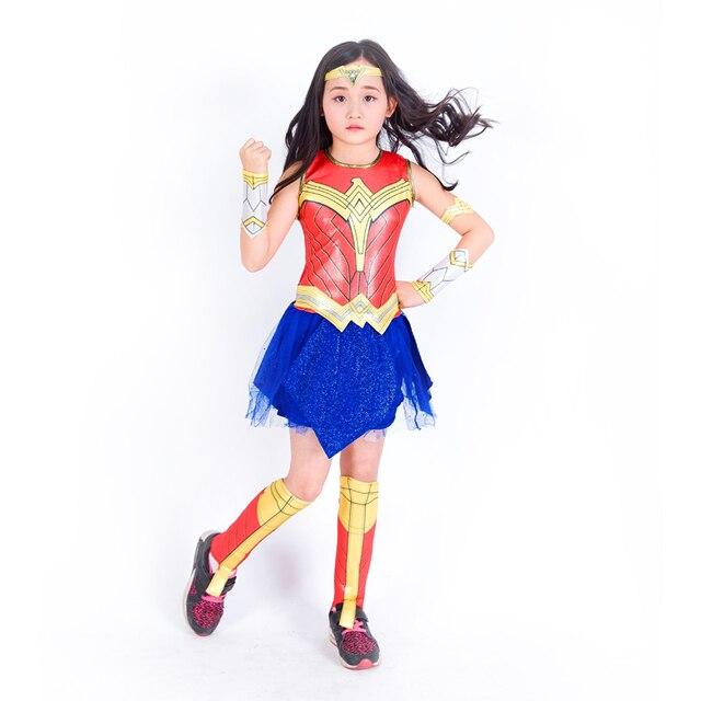Disfraz de Cosplay de Mujer Maravilla para niñas vestido de fiesta elegante  Liga de la justicia 4832652200e