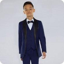 Navy Blue Boy Suits for Wedding Black Shawl Lapel Slim Kids Blazer Suit Costume Mariage Child Groom Tuxedo 3Piece