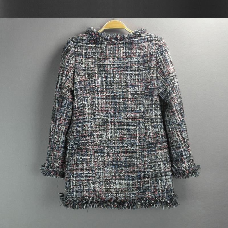 Tweed hiver Veste pink 2018 Bleu Manteau Foncé Femmes Dark Automne Longues Jacket Paillettes Slim rouge Blue Sections Jacket Était En Laine Et Mince Dames 14nxt0wxz