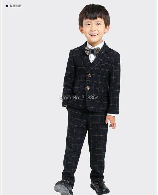 8387cb47318 Hight Grade Fashion Exquisite Warm Woolen Black Grid Flower Boy s Wedding  Suit Boy s 5-