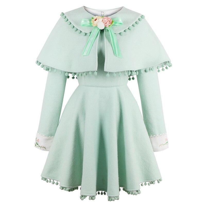Robe Douce Pièces Princesse Japonais Cotten Bonbons Broderie Ornement Pluie Fleur C16cd6179 Conception A Lolita Deux Vert ligne Faux qIRRdwg