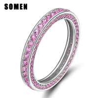 Purple Pink Silver Cubic Zirconia Ring Female 925 Sterling Silver Fashion Jewelry Eternity Engagement Wedding Rings