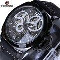 Forsining estuche negro de lujo para hombre relojes de primeras marcas de lujo mecánico reloj masculino de la correa de cuero casual reloj automático 2017 n