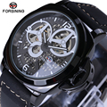 Forsining preto caso de luxo mens relógios top marca de luxo automático relógio mecânico pulseira de couro relógio masculino casuais 2017 n