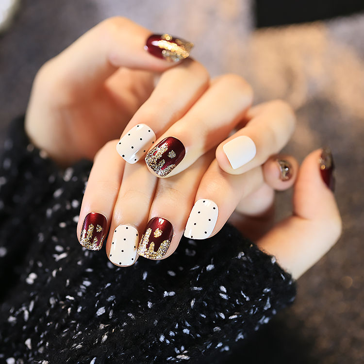 2016 New Cute Japan Point Golden Wavy Pattern Short Fake Nails Wine ...