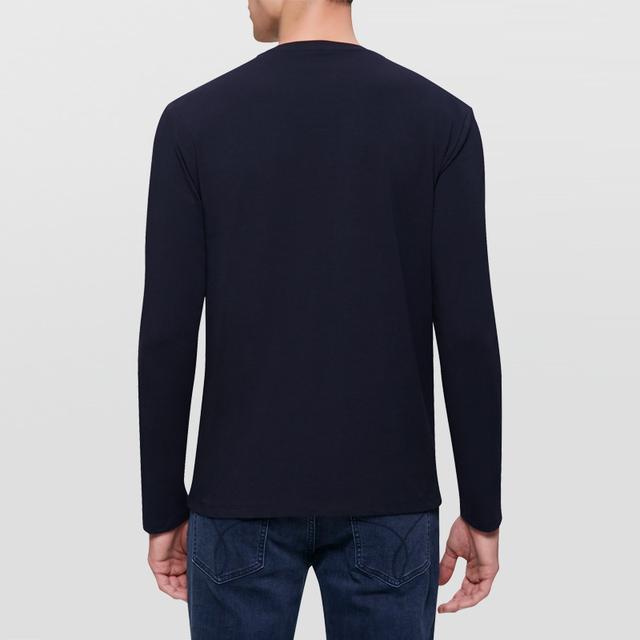 Calvin Klein Jeans / CK 2017 Autumn Winter Men's Slim Round Neck Long Sleeve T-shirt Men Fashion Unique Printing Shirt J306577