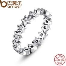 Bamoer sparkling 925 starshine estrella anillo de dedo de plata esterlina con cz clara original pa7161 joyería fina para las mujeres de la boda