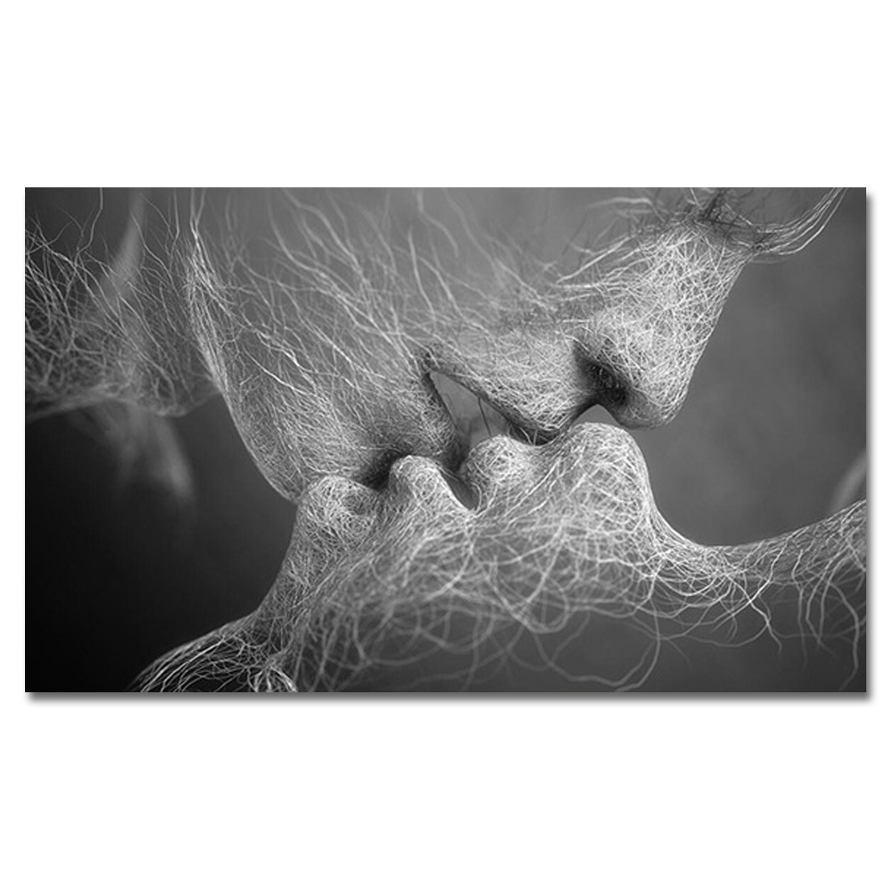 Fashion black white love kiss abstract art on canvas - Black and white love pictures ...