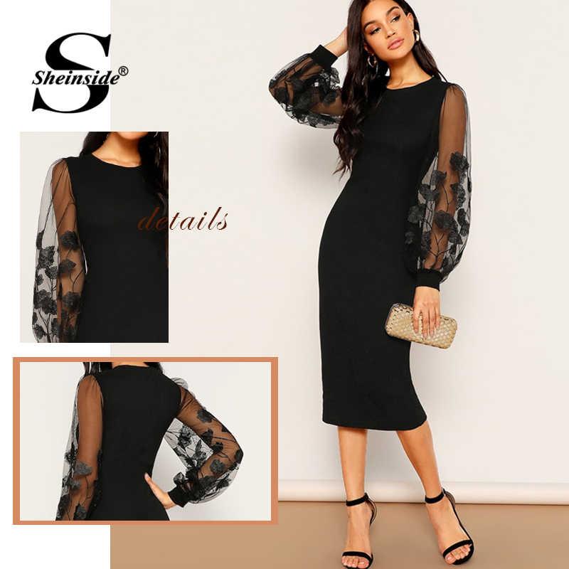 Sheinside preto elegante bordado malha lanterna manga vestido feminino 2019 primavera sólida bodycon vestidos senhoras elástico midi vestido