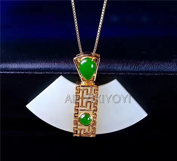Beautiful Real 925 Silver Gold White Green HeTian Jade Ancient Style Lucky Pendant + Free Necklace Fine Jewelry CertificateBeautiful Real 925 Silver Gold White Green HeTian Jade Ancient Style Lucky Pendant + Free Necklace Fine Jewelry Certificate