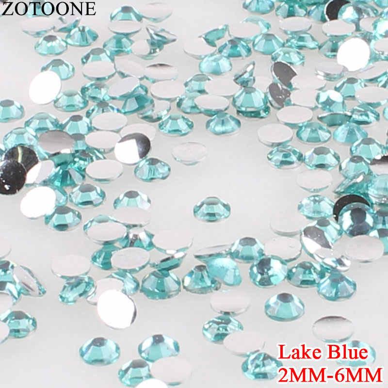 Zotoone Lago Blu Strass di Cristallo Del Chiodo Flatback Rotondo Della Resina Non Hotfix Strass per 3D Unghie Decorazioni di Arte Applique E