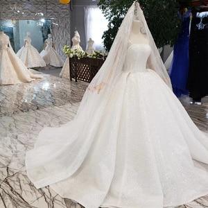 Image 3 - HTL346 nuovo Abito Da Sposa come il bianco piazza collo pulsante indietro lungo tulle maniche abito da sposa con velo da sposa бохо платье