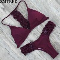 ZMTREE 2017 New Design Handmade Crochet Swimwear Women Bikini Set Sexy Bandage Beach Bathing Suit Push