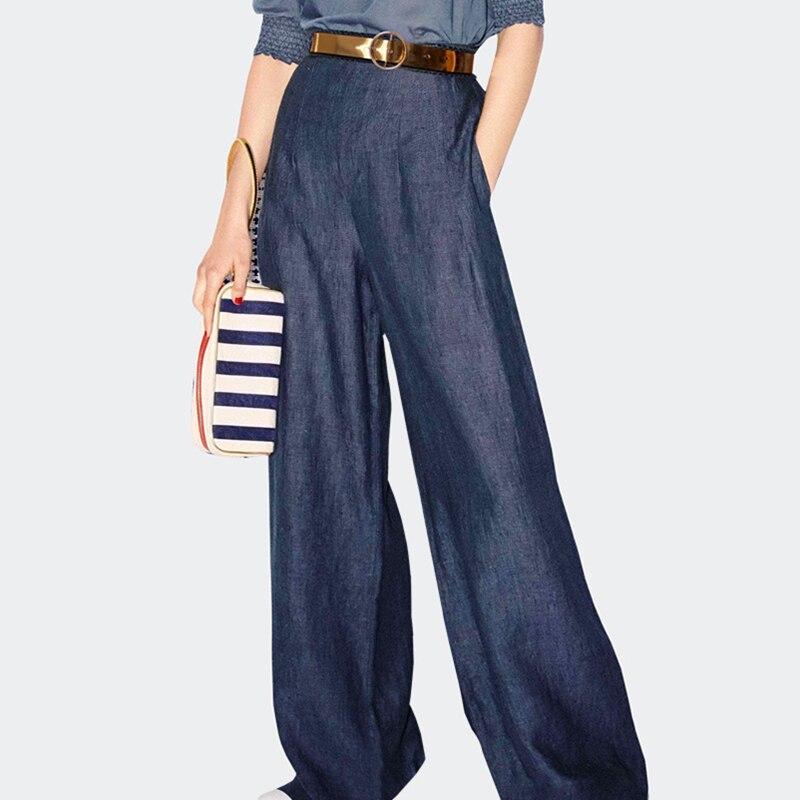 2019 Casual Womens Wide Leg Pants Plus Size High Waist Demin Pants Fashion Palazzo Pants Tencel Trousers Jeans Woman Bottoms
