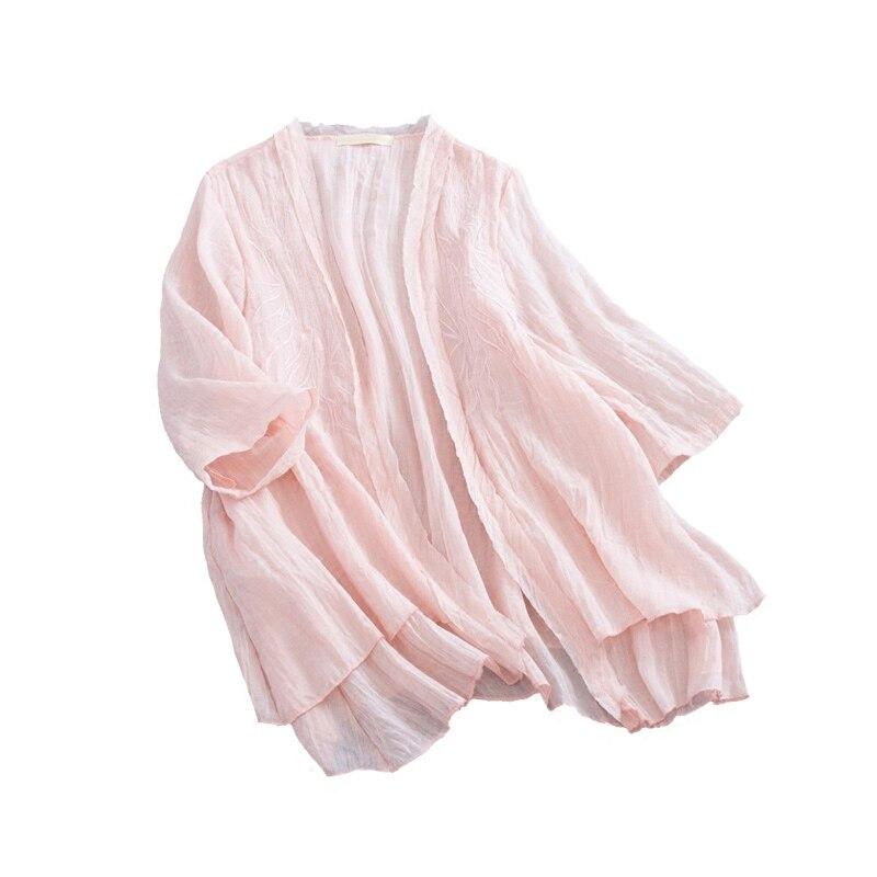 Crème 4 Bleu Point Chemises Rose 3 blanc Été Tops Ligne rose Solaire Broderie Vintage Coton Cardigan jaune Outerwer Pu Mince Ciel Ouvrir Manches qxxzTfOw