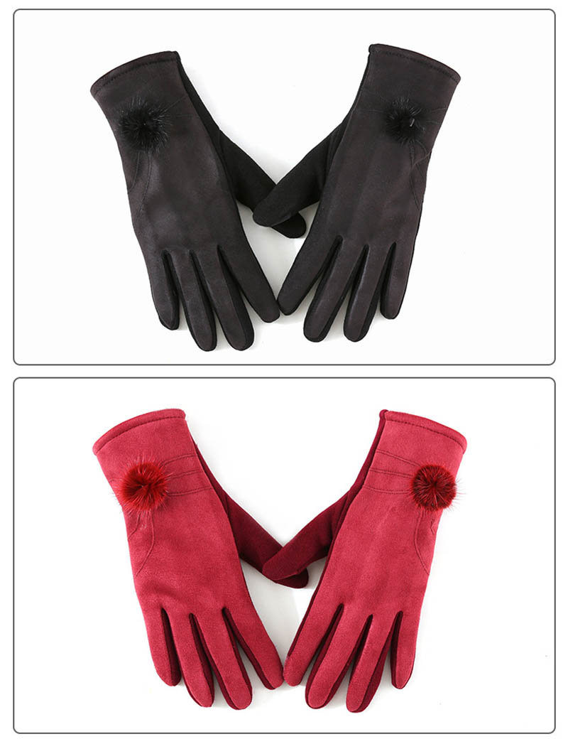Winter Windproof Touch Screen Gloves for Female made of Cashmere Suede Leather Allows to Use Touch Screen Device Freely 12