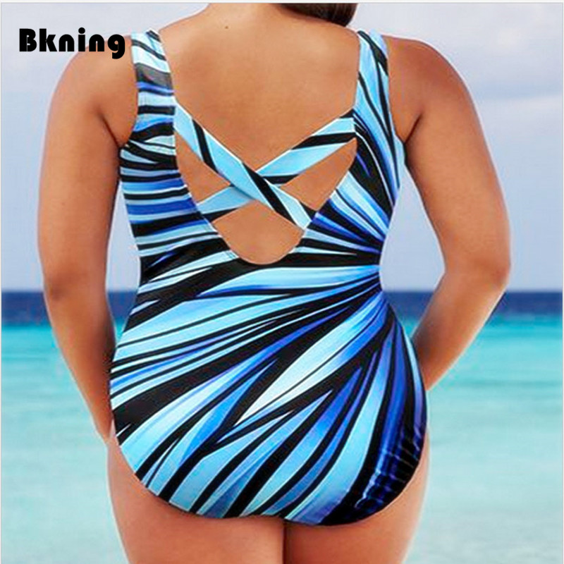 3908e16168 Bkning 5XL Large Striped Swimsuit One Piece Swimwear Women Plus Size Swim  Suits One-piece