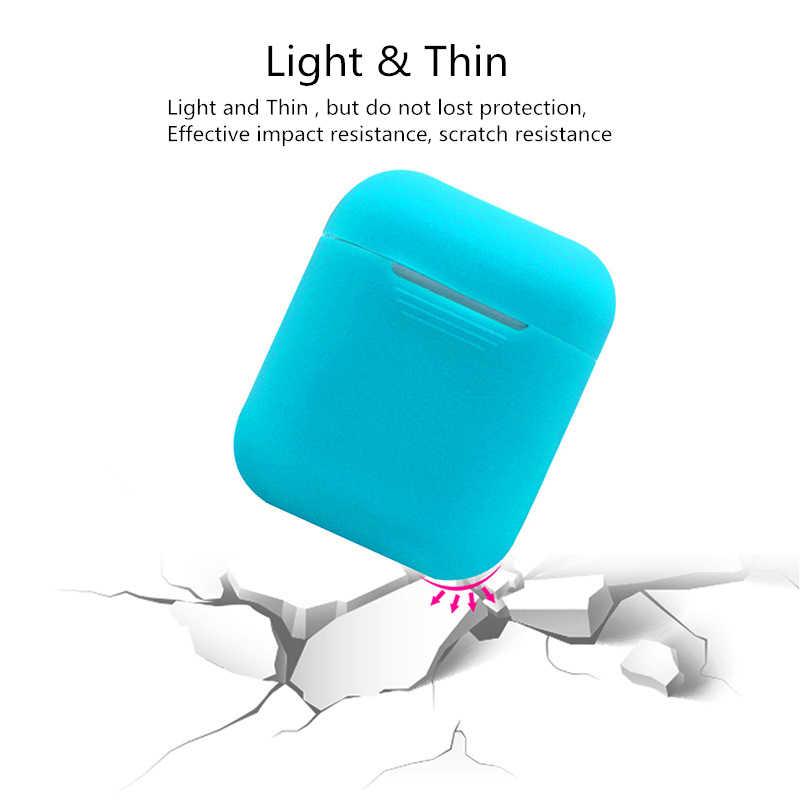 TPU silikonowa bezprzewodowa słuchawka Bluetooth landrynkowy futerał dla AirPods pokrywa ochronna skóry akcesoria dla Apple Airpods okno ładowania
