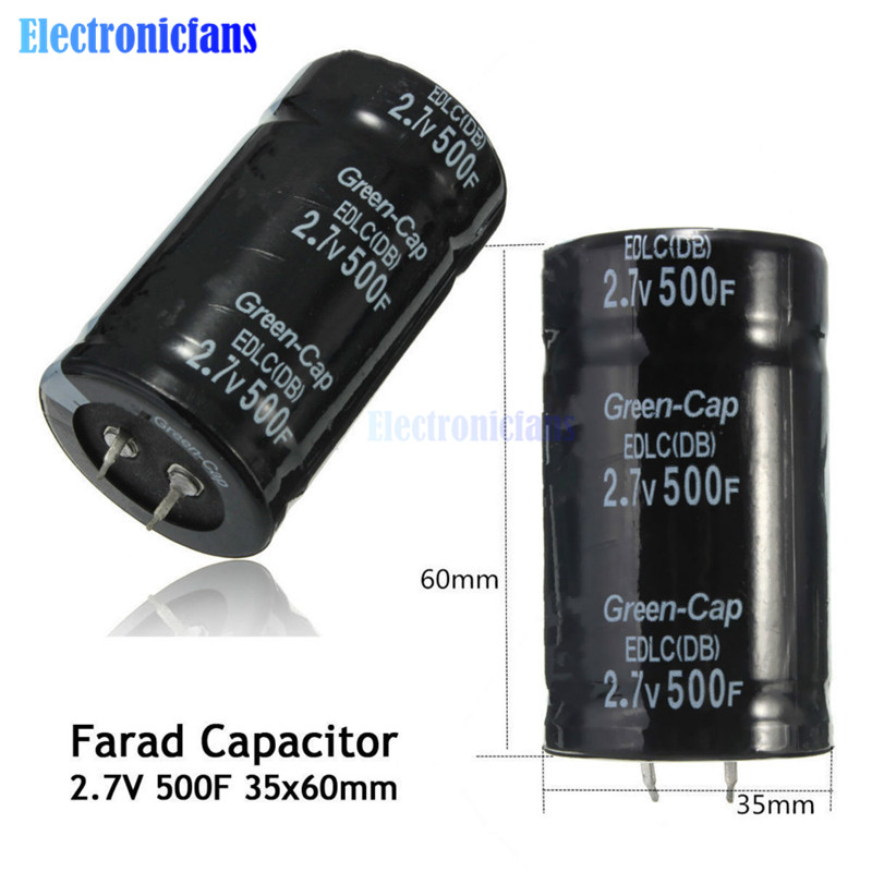 Diymore-condensador de Farad de 2,7 V, 500F, 35x60MM, supercondensadores con agujero pasante, uso General, 2.7V500F, dos pies/cuatro pies