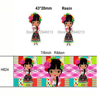 printed cartoon girl grosgrain ribbon and resin sets 7/8inch 50yard ribbon and 50pcs resin 1 set REB02