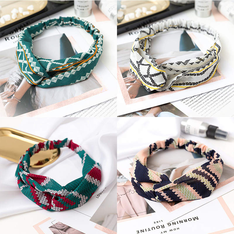 Fashion Print Flower Knot Women Headband Turban Elastic Hairband Girls   Headwear   Lady Elegant Bandanas Hair Accessories Head Wrap