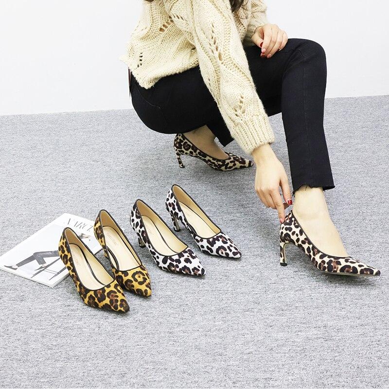 Spitz Luxus Mujer Leopard Zapatos On Leopardgraubraun Damen Schuhe 2019 Heels Stiletto Mode High Wildleder Ferse Slip Pumps Sexy Rutschen IDH2WE9