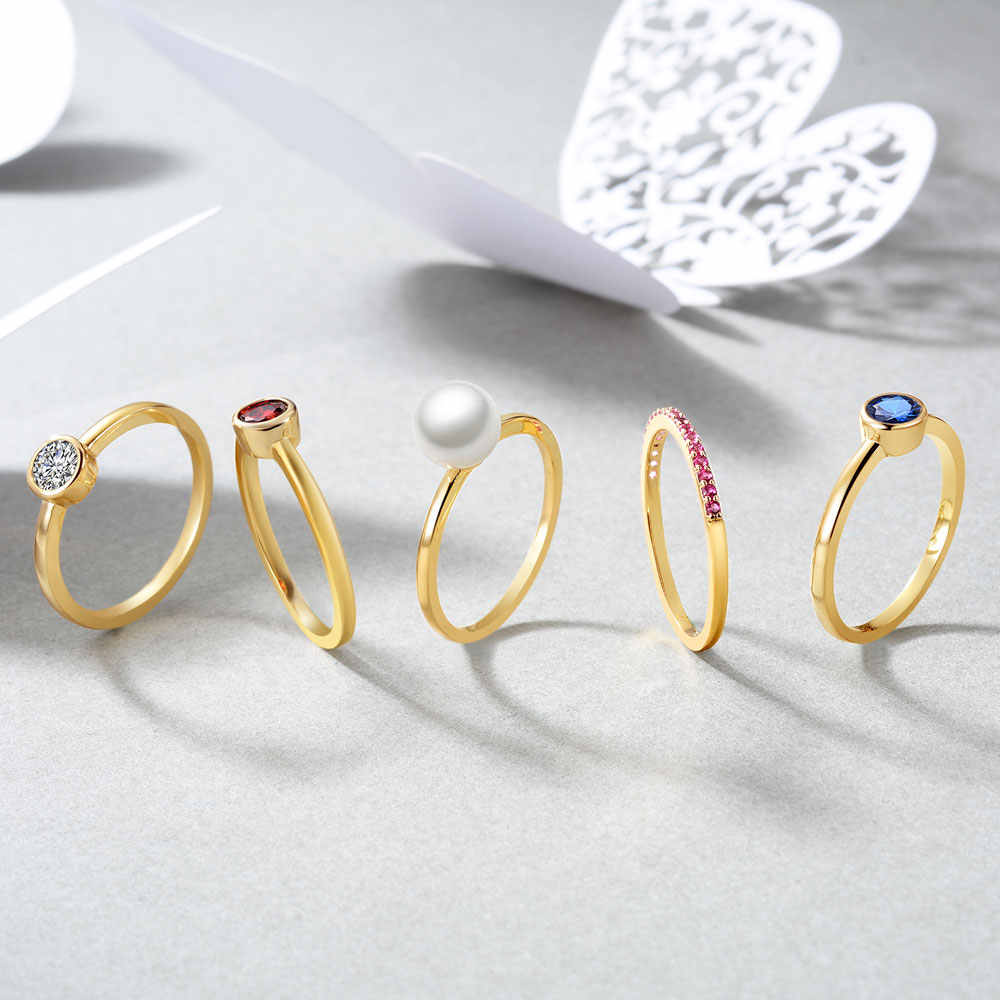 E เครื่องประดับ STACKABLE วงแหวน Eternity แหวนเพิร์ลลูกบาศก์ Zirconia สีสัน Birthstone แหวนแฟชั่นเครื่องประดับ