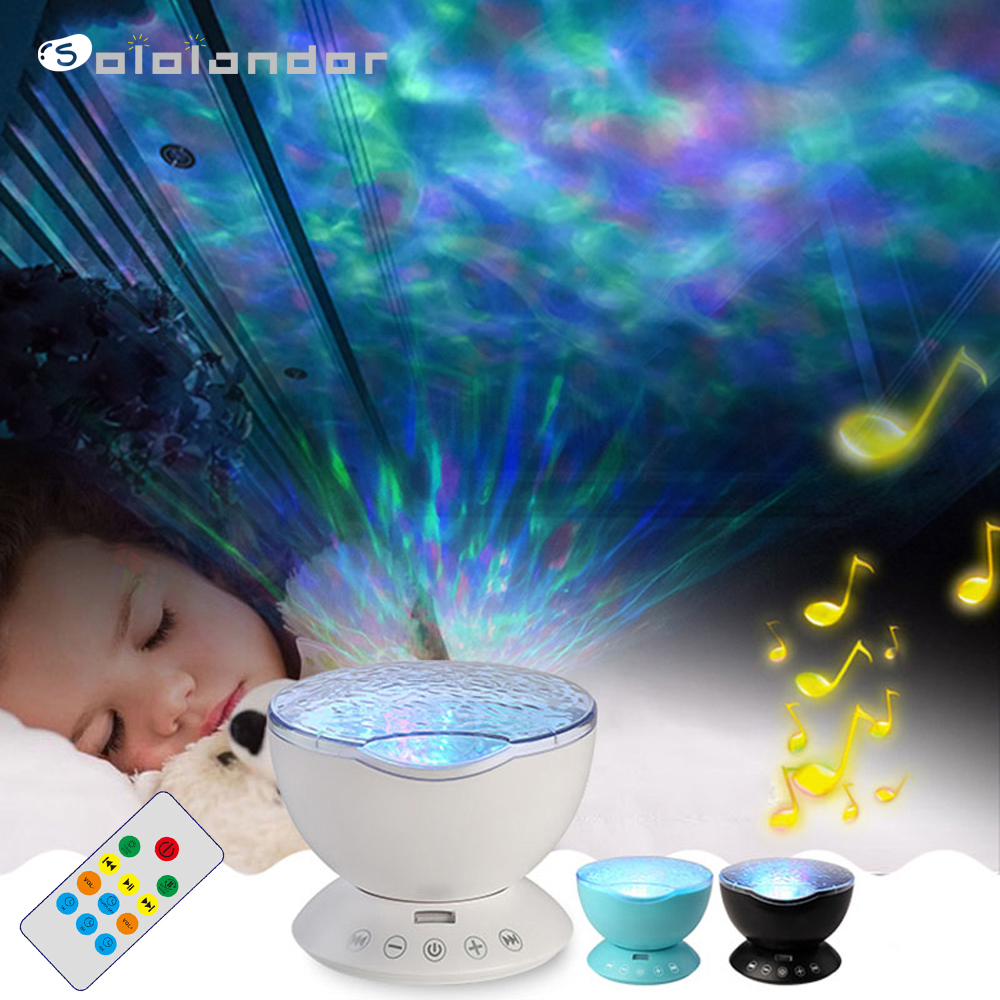 New Ocean Wave Starry Sky Aurora LED Night Light Projector Luminaria Novelty Lamp USB Lamp Nightlight Illusion For Baby Children