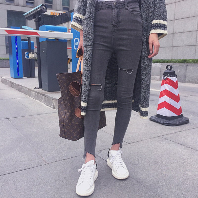 Fashion Women High Waist Ripped Jeans Solid Skinny Denim Pencil Pants Casual Gray Vintage Slim Jean Trousers With Holes KZ179-S