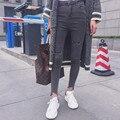 Moda Feminina Cintura Alta Rasgado Jeans Skinny Jeans Calças Lápis Casual Cinza Sólida Do Vintage Magro Calças Jeans Com Buracos KZ179-S