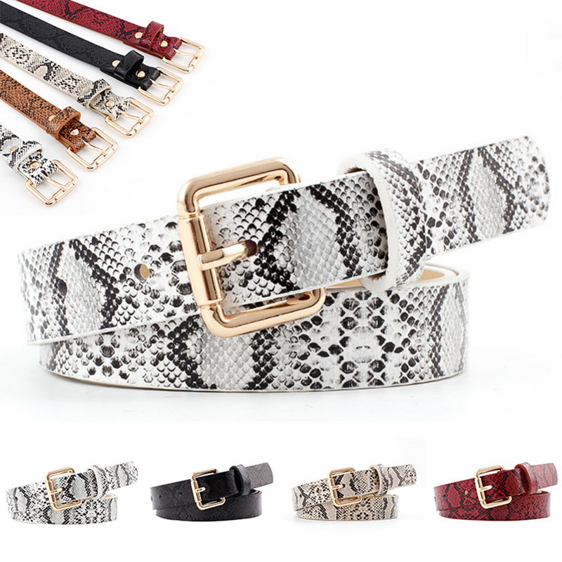 2019 105x2.3cm Sexy Leopard High Quality Female Pu Leather Snake Waist Belt Women Belts For Women's Dress Cinto Feminino