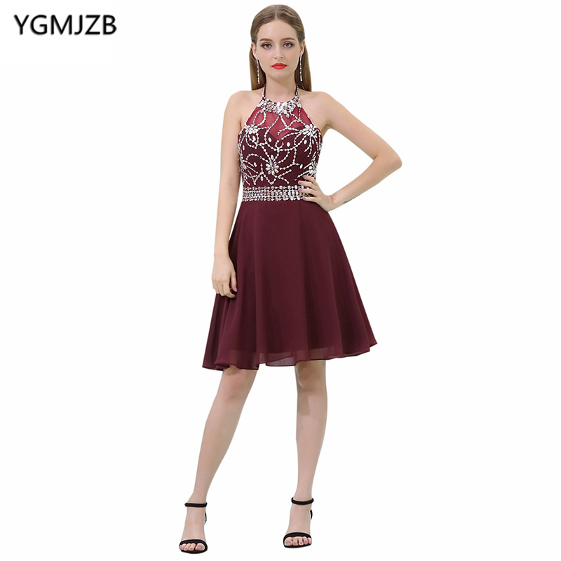 Burgundy Short   Prom     Dresses   2019 A-Line Halter Beaded Crystal Sequined Backless Cocktail   Dress   Knee Length Robe De Cocktail Gown