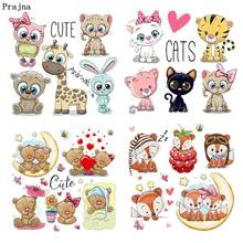 Prajna Cartoon Animal Iron On Transfer Hot Sale Unicorn Cat Stickers Clothes Heat Owls Patches For Clothing