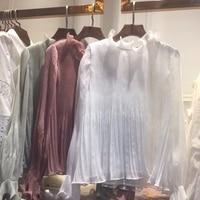 New Princess Women's Tops Blouse 2018 Spring Summer Designer Shirts Ladies Ruffled Collar Pleated Long Sleeve Solid Shirt Blusas