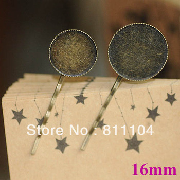 16mm Vintage Antique Bronze Plated Copper Round Circle Bezel Tray Hair Clips Hairpins Hairwear Settings Blank Bases Wholesale