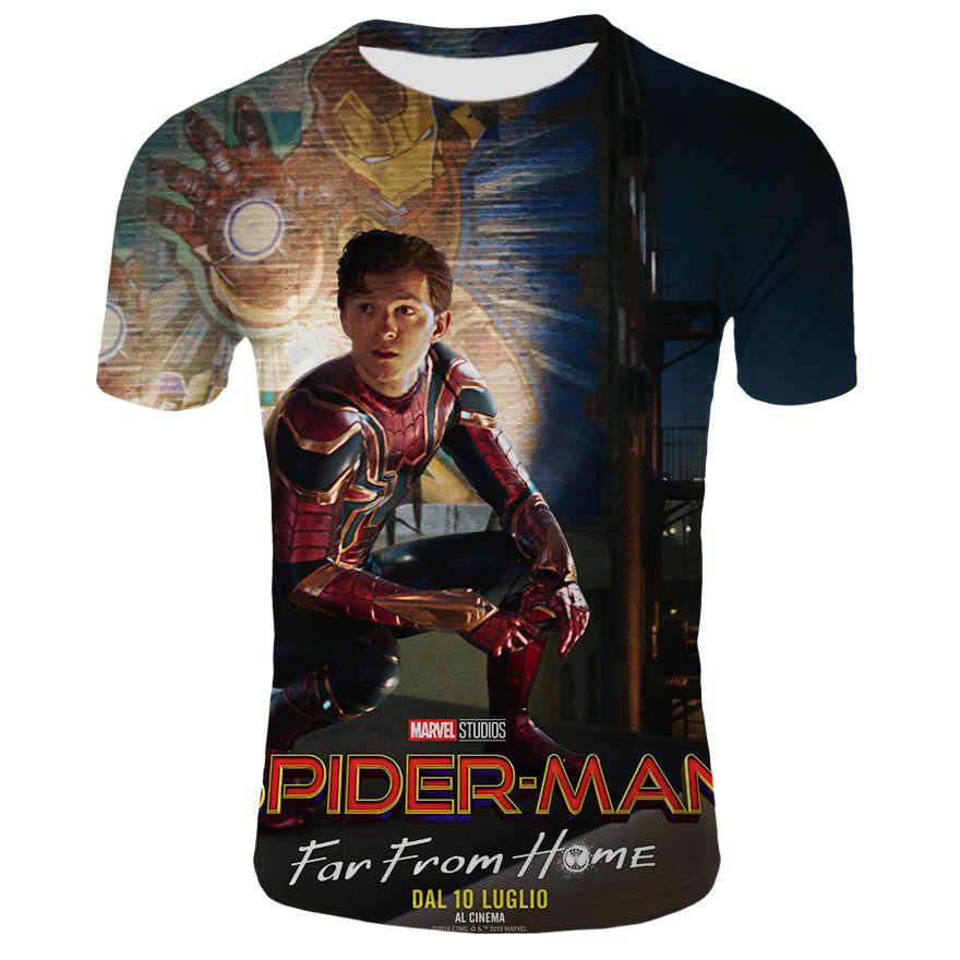 2019 Человек-паук футболка супергерой косплей фильм Человек-паук далеко от дома костюм сетчатая ткань спортивные мужские футболки топы тройник