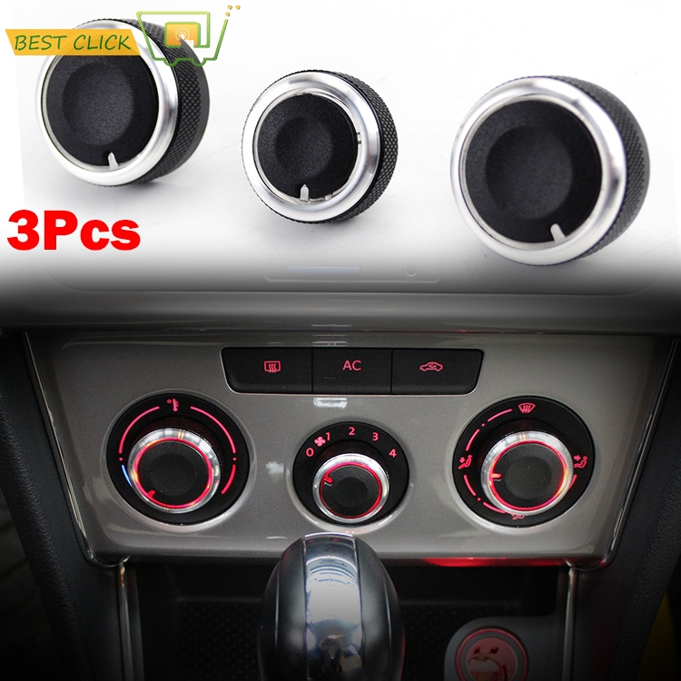 Botones de cambio para VW JETTA GOLF 5, MK5, TIGUAN, TOURAN, PASSAT B6, EOS, BORA, diales, CONTROL de calor y clima, cubierta A/C, 3 uds.
