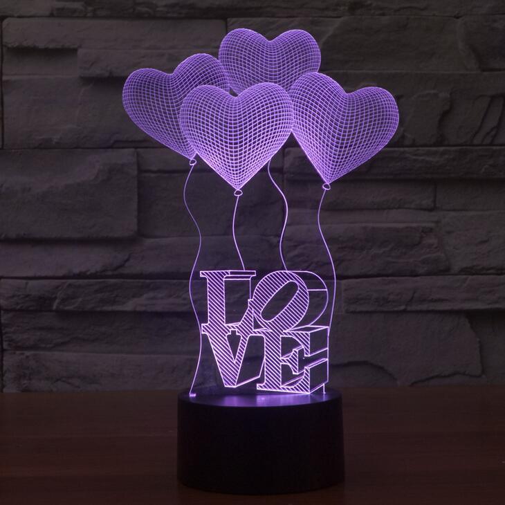 Luzes da Noite amor coração balões led sensor Fonte de Luz : Lâmpadas Led