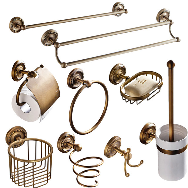 Charmant European Antique Bathroom Accessories Sets Brass Products Paper Holder  Unique Bronze Carved Hardware Set For Complet